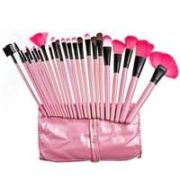 [Promotion] LiteXim 24Pcs Pinky Professional Facial Makeup Make Up Cosmetic Brush Collection Eyeshadow Powder Brush Set Kit with Leather Roll up Pouch Case Silk UP and Forever Young WithElegant Gift Earrings