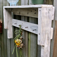 White Wash Painted Shelf with vintage square nails - Primitive / Beachy Style /Cottage Chic - made from Recycled / Reclaimed Pallet Wood
