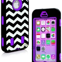 myLife Purple + Black Zig Zag Style 3 Layer (Hybrid Flex Gel) Grip Case for New Apple iPhone 5C Touch Phone (External 2 Piece Full Body Defender Armor Rubberized Shell + Internal Gel Fit Silicone Flex Protector)
