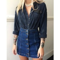 Elina 2016 new summer style vintage faldas crayon jupe etek saia feminina A-line jeans high waist button denim skirt female