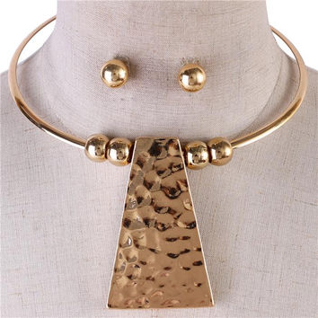 """15"""" hammered 3"""" pendant choker collar necklace .35"""" earrings"""