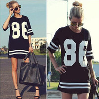 2014 Summer Women Celebrity Oversized 86 American Baseball Tee T Shirt Top Short Sleeve Loose Dress, Black Plus Size LD0611
