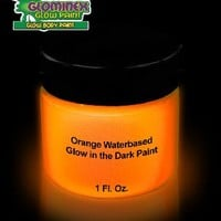 Glominex Glow in the Dark Face and Body Paint 1 oz Jar - Orange