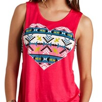 AZTEC HEART GRAPHIC MUSCLE TEE