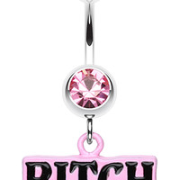 BITCH' Engraved Belly Button Ring