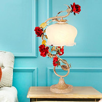 Creative Red White Roses Table Lamp for Living Room Or Bedroom