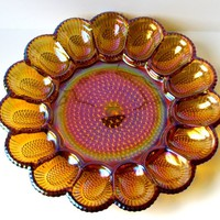 VINTAGE - Indiana Glass Hobnail Deviled Egg Amber Glass Serving Dish Plate - Collectibles