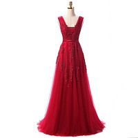 SSYFashion Hot Sell Sweet Lace V-neck Lacing Long Evening Dress The Bride Party Sexy Backless Prom Dresses Custom