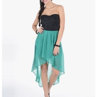Green Bandeau High Low Chiffon Dress | $10.00 | Cheap Trendy Club and Party Dresses Chic Discount F