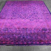 7x10 Overdyed Persian Mahal Hot Pink Purple Blue Rug woh-1365 - West Of Hudson - Unique Rug Collection