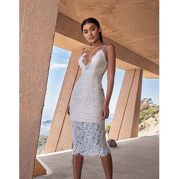 Edita Plunge White Lace dress