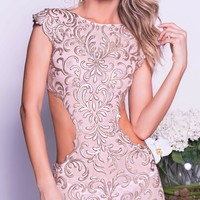PARINA DRESS IN NUDE WITH GOLD