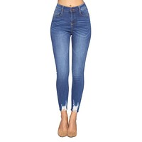Raw Hem High Waist Ripped Ankle Skinny Jeans in Classic Fade