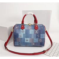 LV Louis Vuitton WOMEN'S MONOGRAM CANVAS Patchwork SPEEDY HANDBAG SHOULDER BAG