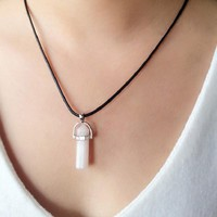 BeadyBoutique Stonehenge Necklace - Black Leather - Rose Quartz