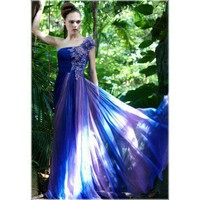 Purple with Blue One Shoulder Long Formal Evening Dress