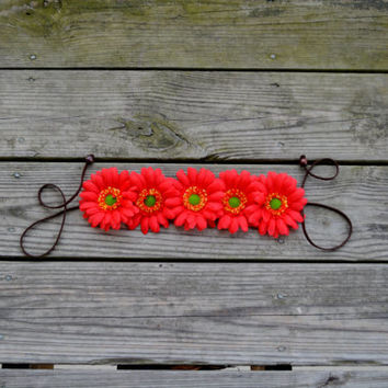 Red Flower Halo Hippie Headband Floral Headwrap Bohemian Headpiece Festival Crown Red Halo Bonnaroon Counterpoint EDC EDM Floral Halo Red