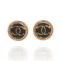 Circle Antiqued Earrings Fashion Lucite Studs cc