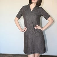 Brown mini dress Soft material Cute dress Twiggy dress 60 s (S/M)