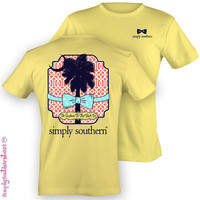Preppy Simply Southern Ties Palmetto T Shirt on Banana Yellow