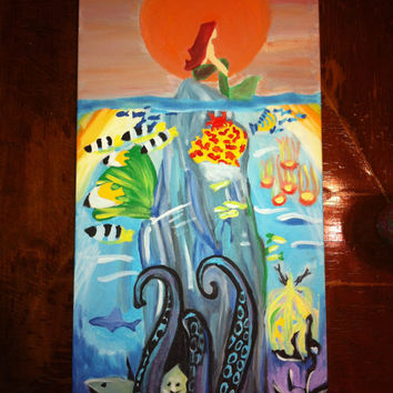 The Little Mermaid Real Time Painting Real Life canvas Ariel Under the Sea Part of Your world Disney