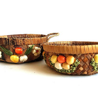 Vintage TWO casserole baskets, carrier rope handles, woven, raffia, straw, reed, puffly floral, kitchen dining accessories Retro Mid Century