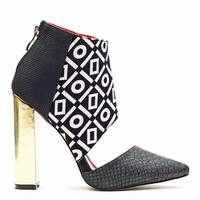 BAD GIRL CUT OUT BOOTIE - BLACK WHITE