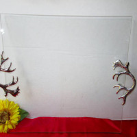 "Large Square Glass Serving Tray w Silver Antler Handles Vintage Glass 14""x14"" Serving Platter Kitchen Home Cabin Man Cave Decor Huge Plate"