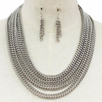 """18"""" silver multi layered chain necklace 1.75"""" earrings"""