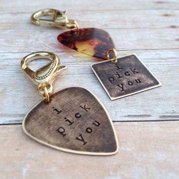"Guitar Pick ""I Pick You"" Couples Keychains"