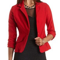 Single-Button Blazer by Charlotte Russe - Red