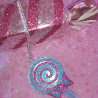 Kawaii Lolita Fairy Kei Pastel Goth Large Glittery Blue Lollipop Necklace with Sparkling Hot Pink Rhinestones