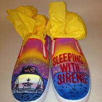 Custom Hand Painted Sleeping With Sirens Slip on Shoes