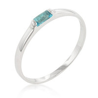 Blue Topaz Petite Solitaire Sterling Silver Ring
