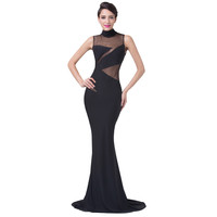Black Special Occasion Dress Elegant Milk-Fiber Long Black Evening Formal Gown