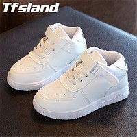 New Girls Boys Breathable White Shoes Children Leather Sports Shoes High Leisure Antislip Soft Bottom Flat Basket Kids' Sneakers