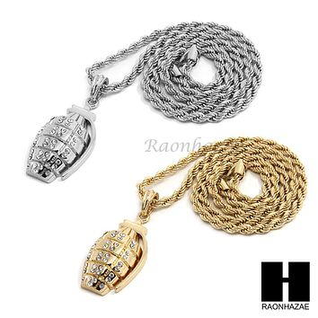 """MENS HIP HOP HAND GRENADE CZ PENDANT 24"""" ROPE CHAIN NECKLACE N027"""