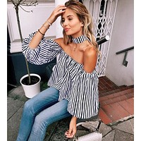 Women's New Style One-line Collar Lantern Sleeve Striped Shirt Strapless Top Shirt