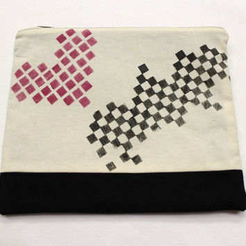 Hand Stamped Pouch, Large Cosmetic Bag, Beauty Bag, Two Tone Pouch, Gadget Holder, Heart Pouch, Stamped Cosmetic Bag, Cotton Zipper Pouch