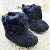 Baby Shoes Infants Crochet Knit Fleece Boots Wool Snow Crib Shoes Toddler Boy Girl Booties