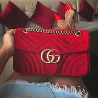GUCCI GG Trending Women Stylish GG Velvet Leather Metal Chain Handbag Crossbody Satchel Shoulder Bag Black 1