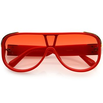 High Fashion Color Tinted Rounded Lens Flat Top Oversize Shield Sunglasses D100