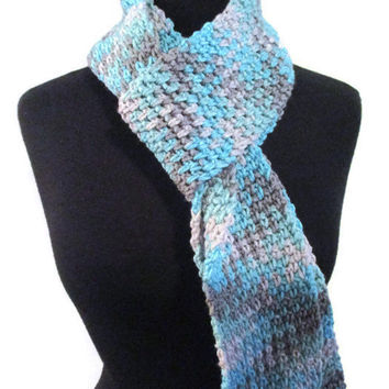 Teal and gray planned pooling zig-zag skinny scarf