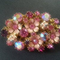 Austrian Rhinestone Pin, Vintage Signed Pink Brooch, Made In Austria, Mid Century Collectible, 1940's 1950's Art Deco Jewelry