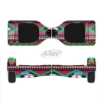 The Vector Green & Pink Aztec Pattern Full-Body Skin Set for the Smart Drifting SuperCharged iiRov HoverBoard