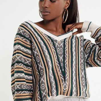 Allison Fuzzy Patterned Pullover Sweater | Urban Outfitters