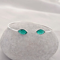 Teal Quartz Marquise 7x14mm Gemstone Bangle Wholesale Jewelry 925 Sterling Silver Bangle - #1320