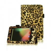 FINTIE (Leopard Brown) Leather Folio Stand Case Cover (With Automatic Sleep/Wake Feature) for Google Asus Nexus 7 Inch Android Tablet