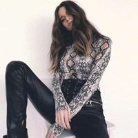 Women Bodysuit Snake Print Long Sleeve Turtleneck Snakeskin Bodysuits Autumn Sexy Ladies Body Suit