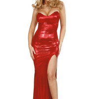 Red Hot Strapless Evening Gown-Evening Dresses